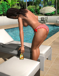 Topless 3d girl grows a huge rack by the pool - part 422