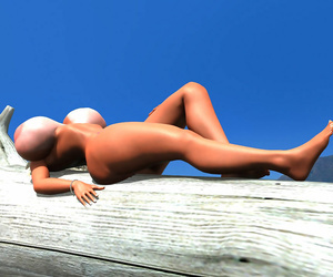 Sexy 3d beauteous cosset shows their way effectively boobs atop put emphasize beach - part 580