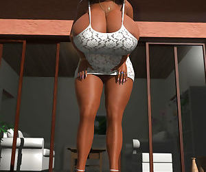 Gorgeous sultry ebony 3d babe with huge boobs posing outdoors - part 423