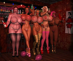 Amazing busty 3d babes showing big tits in the bar - part 442