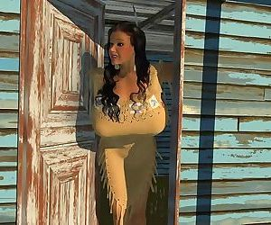 Large breasted 3d american indian hottie posing outdoors - part 428