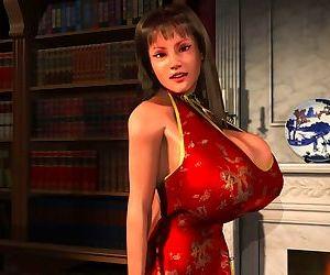 Huge meloned 3d hottie posing nude on sofa - part 355