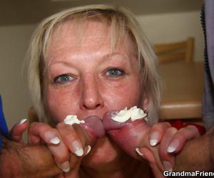 Kinky grandma fucking her age-old wrinkled cunt nigh four hard cocks - loyalty 4381