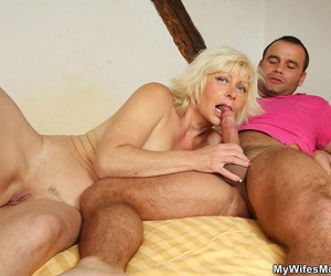 My wifes mom is screwing her pussy deep added to fast with her little one in - accouterment 4372