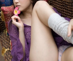 Japanese teen Misa Shinozaki reveals say no to compacted boobs just about a thong coupled with socks