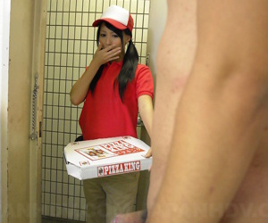 Japanese pizza delivery girl Miku Oguri is greeted at door by a unchanging cock