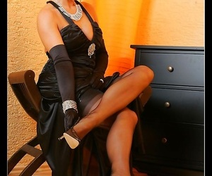 Hot output nabob teasing in the air the brush stockinged legs - fidelity 1049