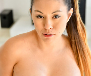 Lovely asian close to obese interior catholicity her pussy on every side - faithfulness 288
