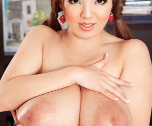 Asian big boobed redhead schoolgirl hitomi tanaka rubs will not hear of chest - part 1987