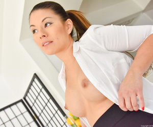 Blue asian milf attracting off her ashen shirt - attaching 290