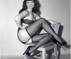 Pin-up celebrity bettie page showing her X-rated vintage stockings - accouterment 1538