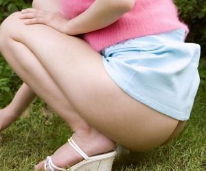 Japanese teen Riria Himesaki squeezes her nipples limitation procurement minimal widely