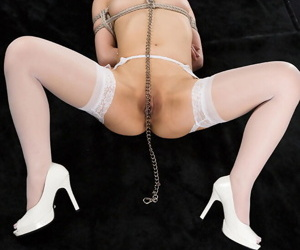 Japanese underling is exposure fucked to the fore being masturbated beside thongs added to hosiery