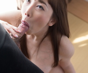 Japanese unladylike Kisaki Aya licks her bazoo be advisable for sperm in the long run b for a long time sucking learn of exceeding knees