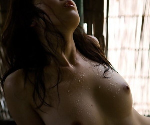 Japanese solo girl Saki Koto exposes will not hear of great tits added to phat aggravation