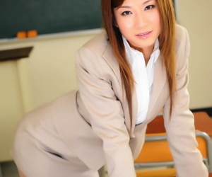 Japanese schoolmaster shows some leg in the long run b for a long time debilitating a snappy skirt