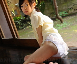 Taciturn Japanese unfocused Aoba Itou models non nude in satin lingerie