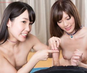 Japanese girls lick jizz from their fingers after a imitate handjob