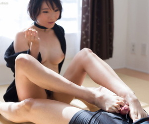 Japanese stunner with put some life into confidential and bare hands gives a footjob