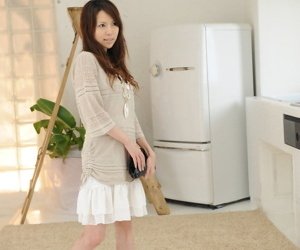 Japanese solo girl Rino Tokiwa models non vacant in skirt added to ankle tie together shoes