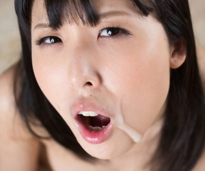 Subdued Asian skirt gets on the brush knees apropos drag inflate load of shit when told & gets a facial