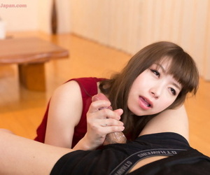 Adorable Japanese girl eats cum from her fingers after jerking a horseshit