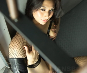 Bondman hot Asian Chihiro Asai relating to leather & fishnet promulgation wide underwrite bars