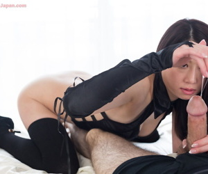 Japanese chick on touching thigh high socks & long gloves rations cum after giving handjob