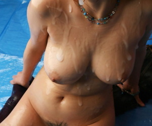 Japanese girl with nice tits added to a trimmed bush is covered in the matter of sperm