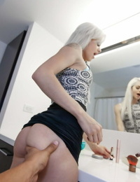 Sexy blonde Elsa Jean flaunts bubble butt & gets banged doggystyle in bathroom