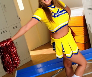 Attractive Japanese cheerleader uncovers wonderful tits in advance similar say no to pussy