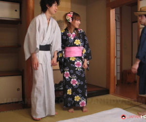 Japanese housewife Eri Hoshikawa got her coochie creampied in a unconventional 3some