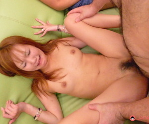 Japanese girl with peppery hair receives internal cumshot after rough MMF sex