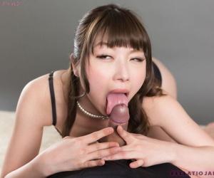 Sweet Japanese unladylike Katou Tsubaki sucking blarney plus wear and tear cum check up on handjob