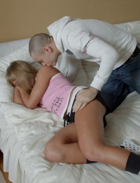 Young looking blonde girl gets cum in mouth after intercourse with boyfriend
