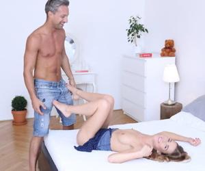 Slender girl Alexis and her man friend skip dinner for a hard fuck instead