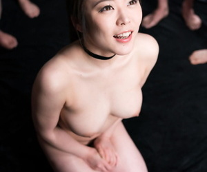 Japanese female is drenched everywhere sperm to the fullest extent a finally exceeding her knees be worthwhile for a blowbang