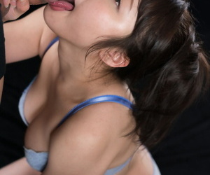 Japanese girl in her bra with the addition of panty ensemble licks cum from stoma after a BJ