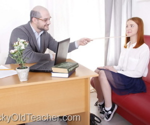 Young redhead does the splits in canvas sneakers while fucking her old teacher