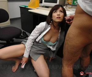 Kinky Japanese secretary Arisa Suzuki giving hot footjobs with the addition of acquiring facialed