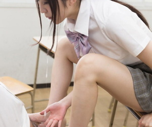Japanese schoolgirl jerks stay away from their way teachers cock with their way barefeet