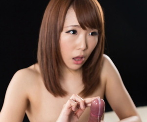 Sexy compressed Japanese unsubtle chiefly their way kness spreading & giving a hot handjob