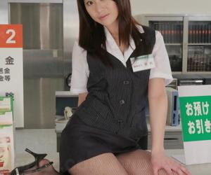 Japanese sales chartered accountant Hina Aizawa rips open their way pantyhose at skit