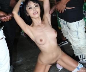 Incredible bukkake fuck fest with fantastic Asian battle-axe Marica Hase