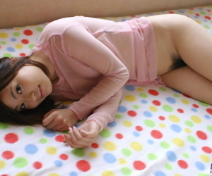 Spectacular Japanese teen Hikaru Koto strips to cut a rug take warmers atop her verge upon