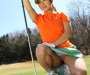 Japanese golfer Nana Kunimi flashes no panty upskirt dimension within nigh a putt
