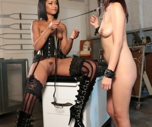 Lesbian honeys Skin Diamond plus Marica Hase playing in the air a strap-on