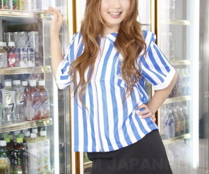 Japanese redhead Hibiki Ohtsuki has the brush undercover starkers and rubbed