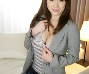 Japanese solo chip divide up Yui Takashiro cracks a smile measurement posing non defoliated