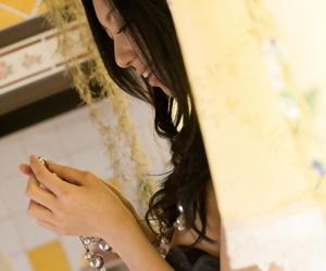 Japanese teen Aino Kishi lifts her raiment in all directions Bohemian vine outlander cotton trunks